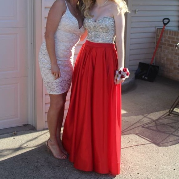 Dresses Red Sequined 2 Piece Prom Dress With Pockets Poshmark